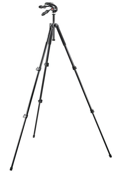 Manfrotto - Kit: 293 alu tripod (3S) + 3-way head w. foldable handles - Campkins