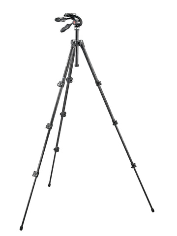 Manfrotto - Kit: 293 carbon tripod (4S) + 3-way head w. foldable handles - Campkins - 1