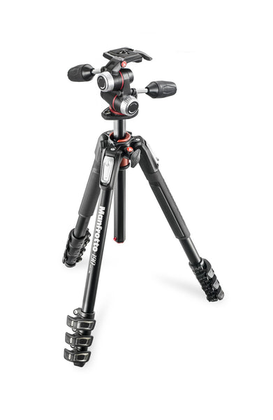 Manfrotto 190 kit - alu 4-section horiz. column tripod + 3 way head - Campkins