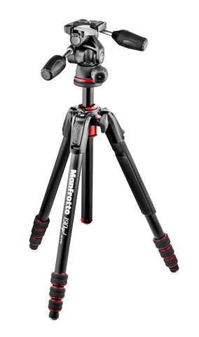Manfrotto MK190GOA4TB-3W 190 Go! kit Alu black 4 Sec w/ Twist Locks & 3 way head - Campkins - 1