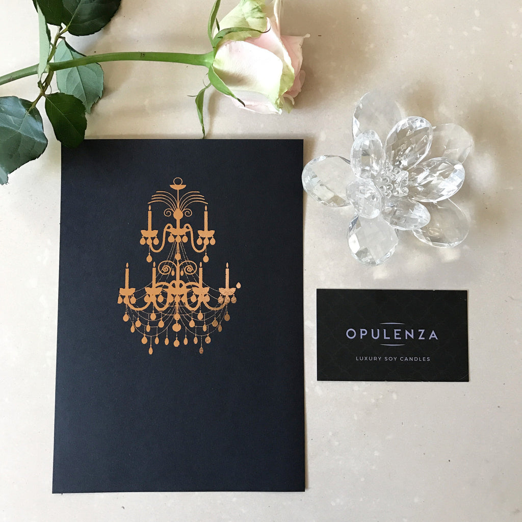 Chandelier Foil Print - Wall Prints - Opulenza Fragrances