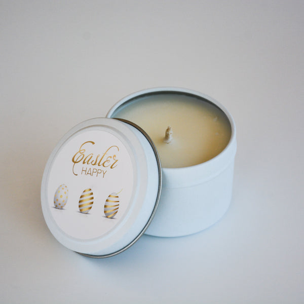 Easter Scented Candle Tin with lid opened