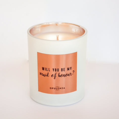 """Will You Be My Maid Of Honour"" Soy Wax Scented Candle Gift"