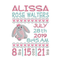Baby birth announcement machine embroidery design by sweetstitchdesign.com