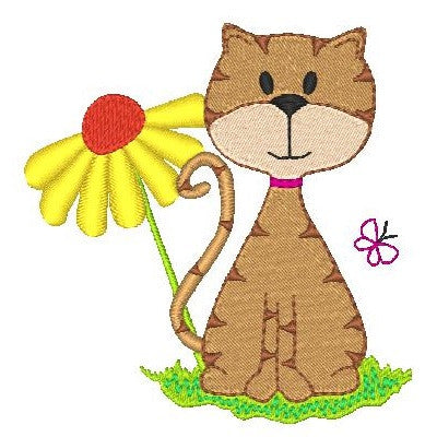 Spring cat machine embroidery design by sweetstitchdesign.com
