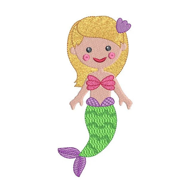 Mermaid machine embroidery design by sweetstitchdesign.com