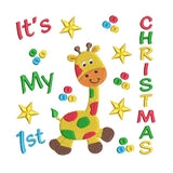 My 1st Christmas - Giraffe machine embroidery design by sweetstitchdesign.com