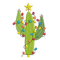 Christmas cactus machine embroidery design by sweetstitchdesign.com