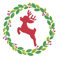 Christmas reindeer wreath machine embroidery design by sweetstitchdesign.com