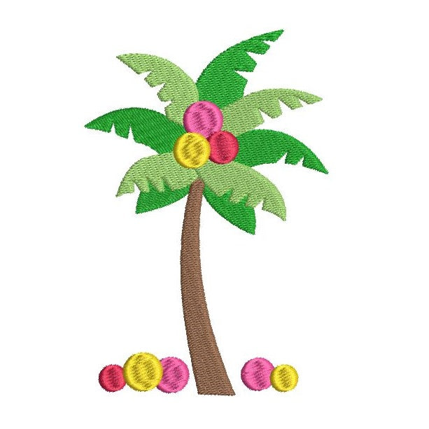 Colorful palm tree machine embroidery design by sweetstitchdesign.com
