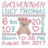 Baby girl birth announcement -custom embroidery design by sweetstitchdesign.com