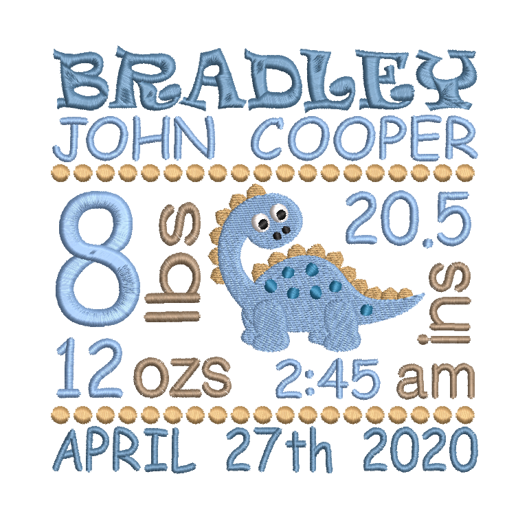 Baby birth stats template machine embroidery design by sweetstitchdesign.com