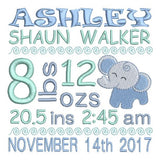 Baby boy birth announcement -custom embroidery design by sweetstitchdesign.com