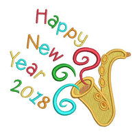 Happy New Year machine embroidery design by sweetstitchdesign.com