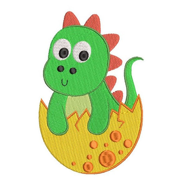 Cute baby dinosaur machine embroidery design by sweetstitchdesign.com