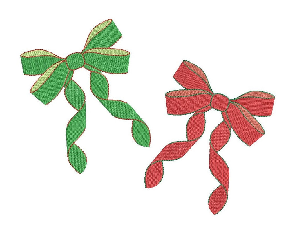 Mini Christmas bows - machine embroidery designs by sweetstitchdesign.com