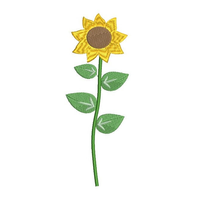 Long stem flower - sunflower machine embroidery design by sweetstitchdesign.com