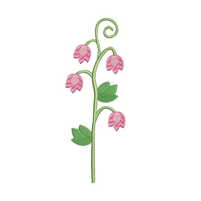 Long stem flower - bellflower machine embroidery design by sweetstitchdesign.com
