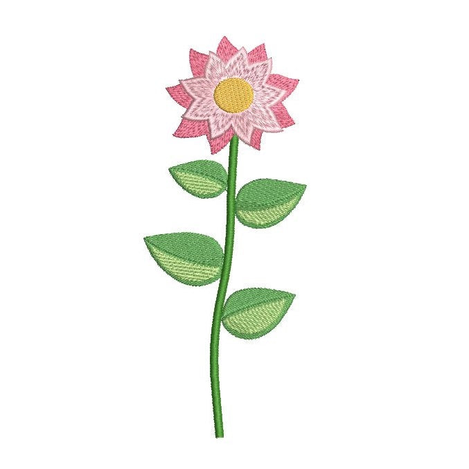 Long stem flower - daisy machine embroidery design by sweetstitchdesign.com