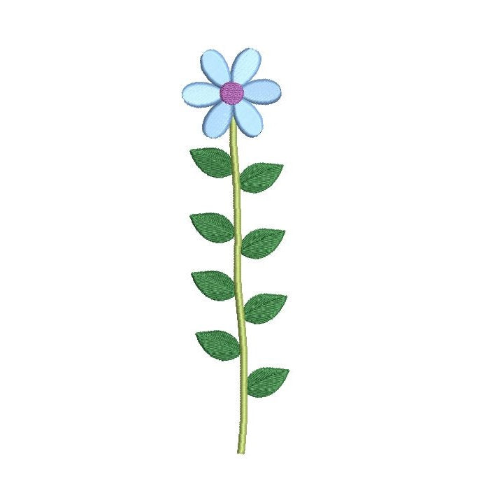 Long stem blue flower machine embroidery design by sweetstitchdesign.com