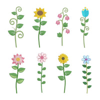 Long stem flower machine embroidery designs by sweetstitchdesign.com