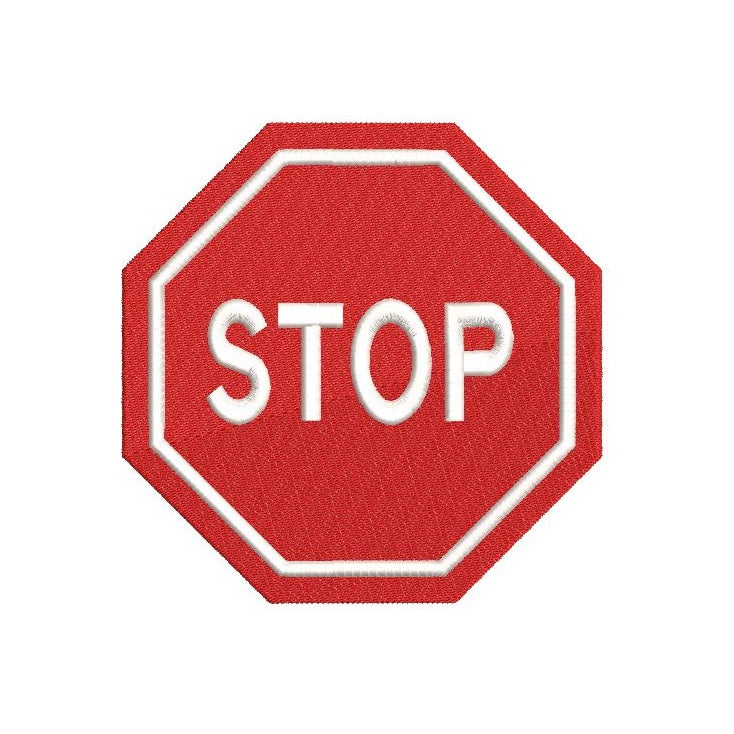 Stop sign machine embroidery design by sweetstitchdesign.com