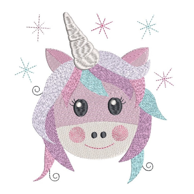 Unicorn face fill stitch machine embroidery design by sweetstitchdesign.com
