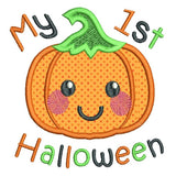 My 1st Halloween pumpkin applique machine embroidery design by sweetstitchdesign.com