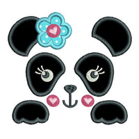 Panda face applique machine embroidery design by sweetstitchdesign.com