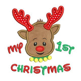 My 1st Christmas - reindeer applique machine embroidery design by sweetstitchdesign.com