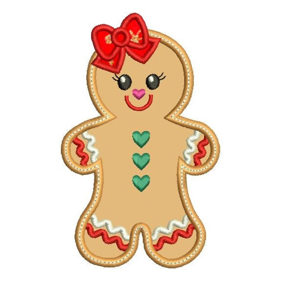 Christmas gingerbread girl applique machine embroidery design by sweetstitchdesign.com