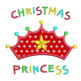 Christmas princess crown applique machine embroidery design by sweetstitchdesign.com