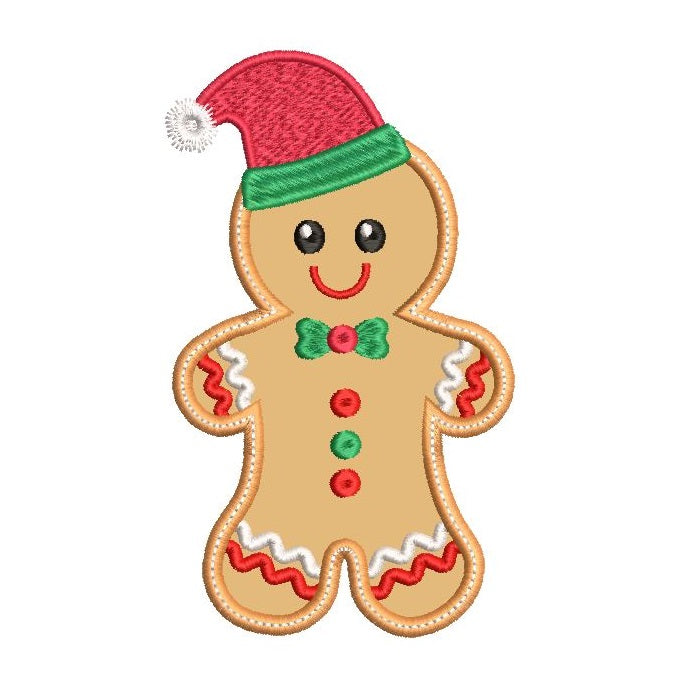 Gingerbread man applique machine embroidery design by sweetstitchdesign.com