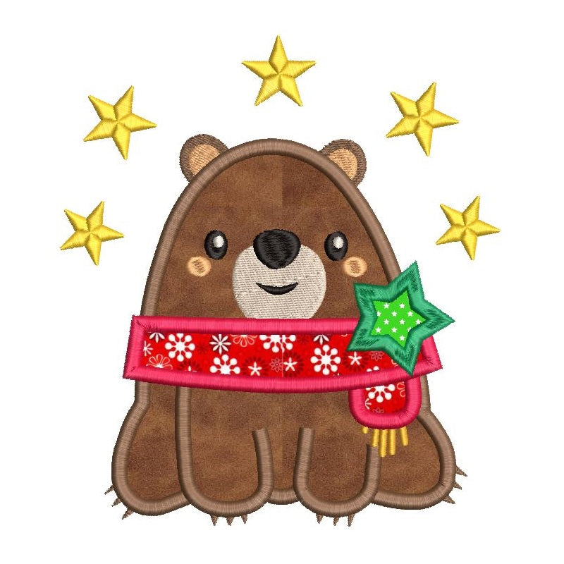 Christmas bear applique machine embroidery design by sweetstitchdesign.com