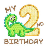 2nd birthday dinosaur applique machine embroidery design by sweetstitchdesign.com