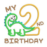 2nd birthday train dinosaur applique machine embroidery design by sweetstitchdesign.com
