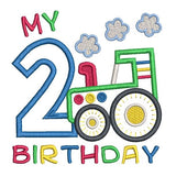 2nd birthday tractor applique machine embroidery design by sweetstitchdesign.com