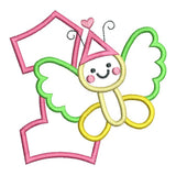 1st birthday butterfly applique machine embroidery design by sweetstitchdesign.com
