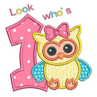 1st birthday owl applique machine embroidery design by sweetstitchdesign.com