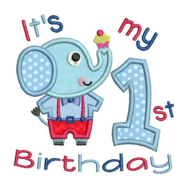 My 1st birthday elephant applique machine embroidery design by sweetstitchdesign.com