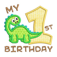 1st birthday dinosaur applique machine embroidery design by sweetstitchdesign.com