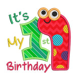 1st birthday worm applique machine embroidery design by sweetstitchdesign.com
