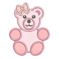 Baby girl teddybear applique machine embroidery design by sweetstitchdesign.com
