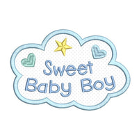Sweet baby boy applique machine embroidery design by sweetstitchdesign.com