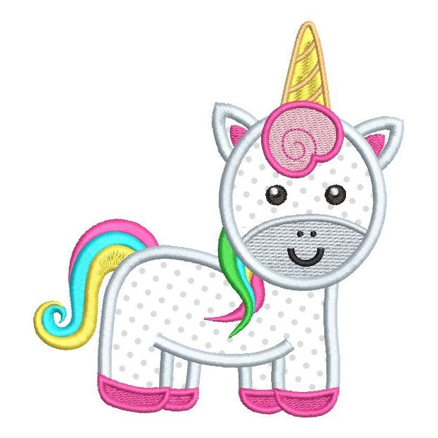 Cute unicorn applique machine embroidery design by sweetstitchdesign.com