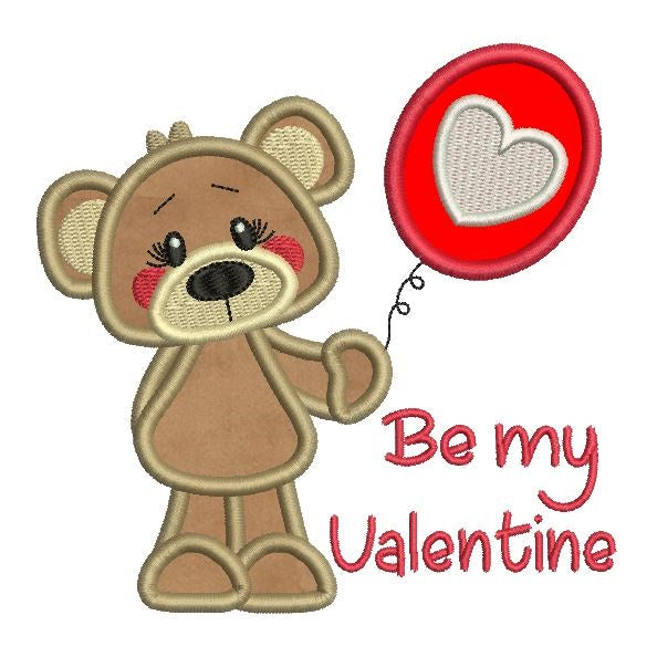 Valentine's Day teddy bear applique machine embroidery design by sweetstitchdesign.com