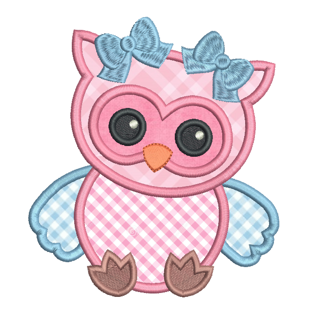 Baby owl applique machine embroidery design by sweetstitchdesign.com