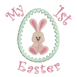 Easter bunny in egg applique machine embroidery design by sweetstitchdesign.com