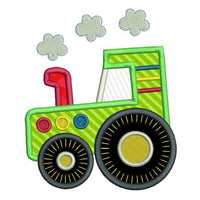 Tractor applique machine embroidery design by sweetstitchdesign.com