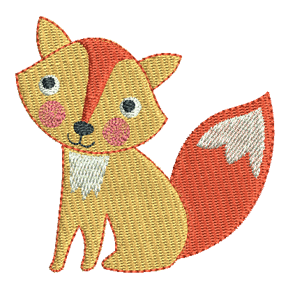 Mini fill stitch fox machine embroidery design by sweetstitchdesign.com